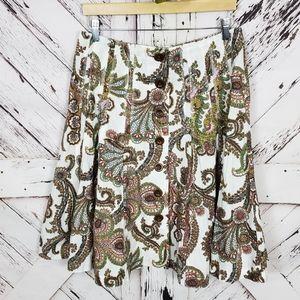 CAbi Paisley Scroll Skirt sz 8